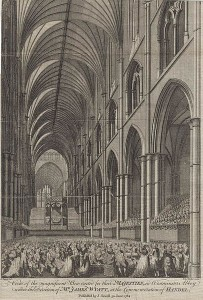 """View of the magnificent Box erected for their MAJESTIES, in Westminster Abbey under the Direction of MR. JAMES WYATT, at the Commemoration of HANDEL."" Date 1784, June 30. Published by J. Sewell. Source: European Magazine and London Review."