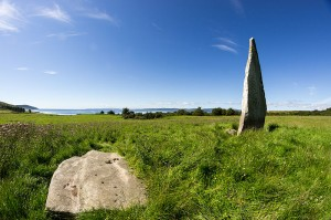 Field with standing stone on Auchencar Isle of Aran